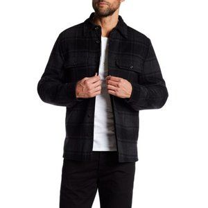 Vince Plaid Military Shirt Wool Blend Jacket
